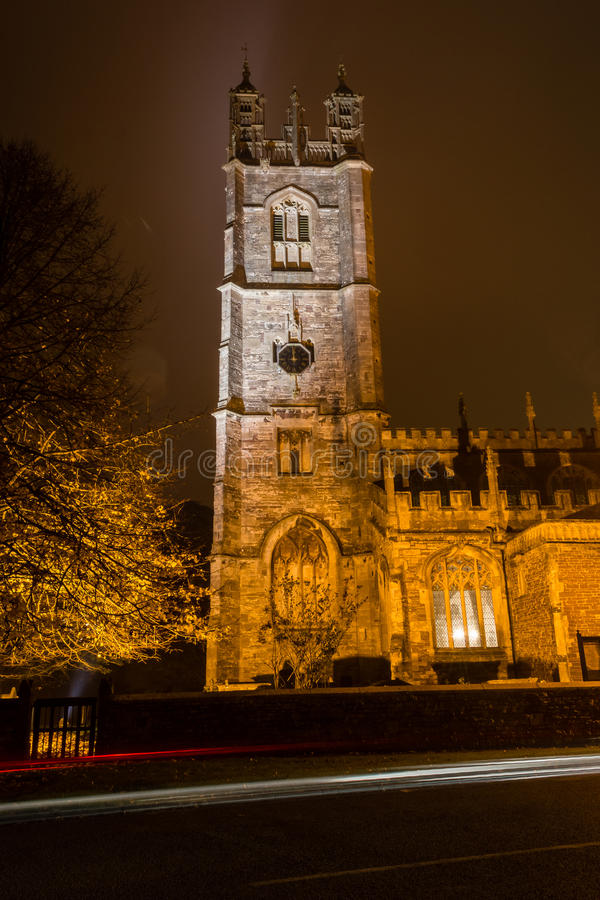 St. Mary's Church by night - tower A. ENGLAND, THORNBURY - 02 NOV 2015: St. Mary's Church by night - tower A stock images