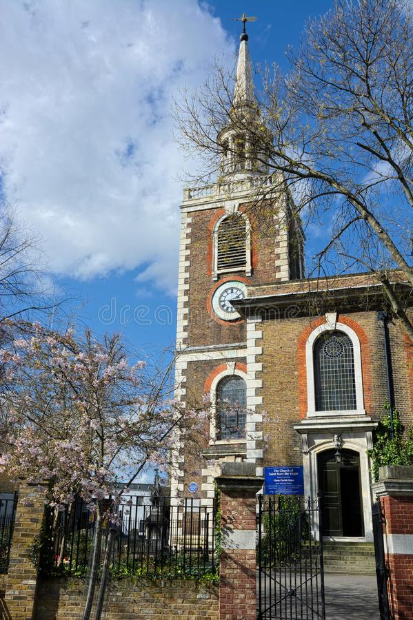 St Mary`s Church, Rotherhithe, London. The 18th-century church is in St Mary church Street and is dedicated to Mary, mother of Jesus, and it is particularly stock photography