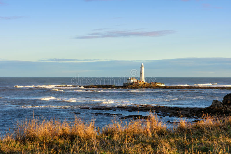 St. Mary`s Island and Lighthouse royalty free stock photos