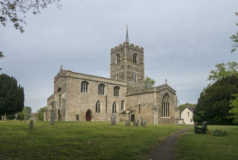 St- Mary` s Kirche, Fowlmere, Großbritannien stockbilder