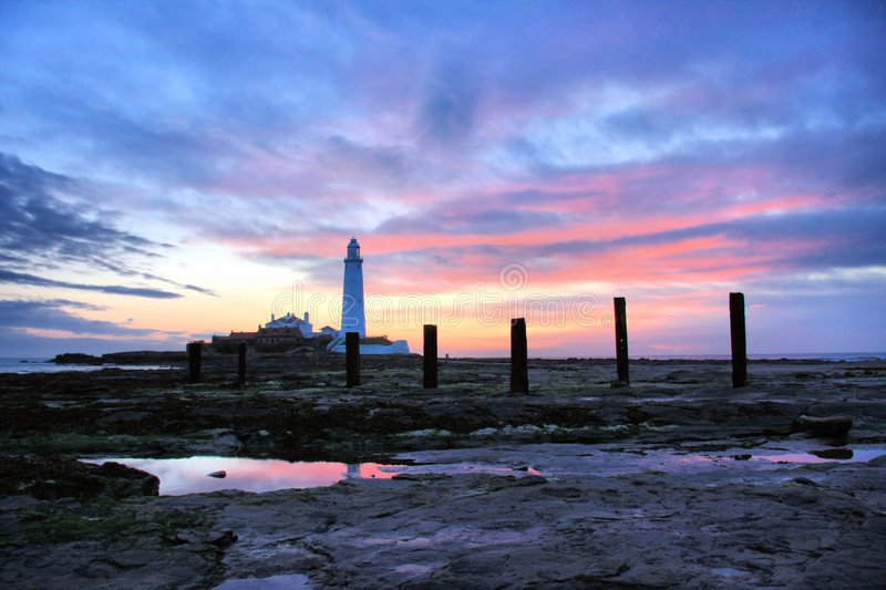 Download St Mary's Lighthouse And Posts Stock Image - Image: 5447779
