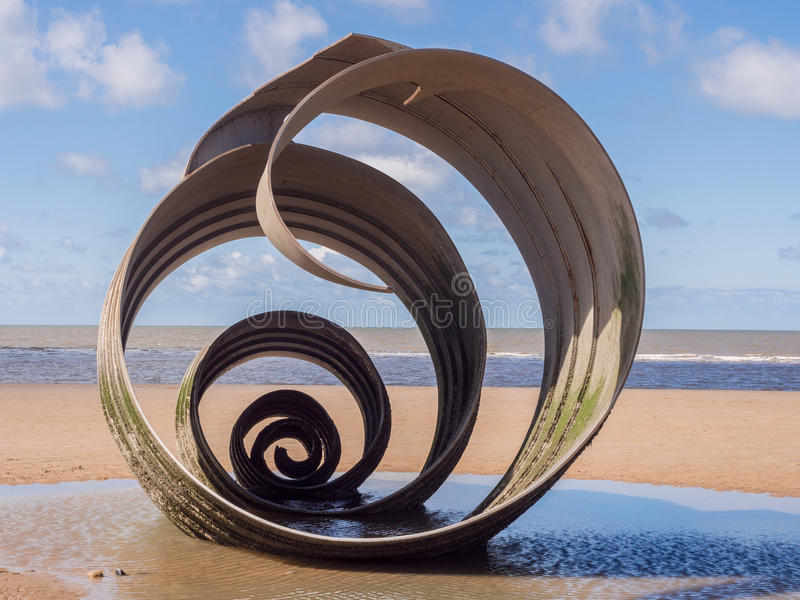 St mary's shell. Cleveleys, Lancashire, UK. April 17th 2016 St Marys shell sculpture at low tide, Cleveleys, Lancashire, UK stock photo