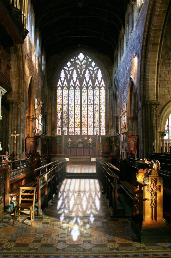 St. Mary's Shrewsbury. Church interior St. Mary's Shrewsbury, stain-glass window stock image
