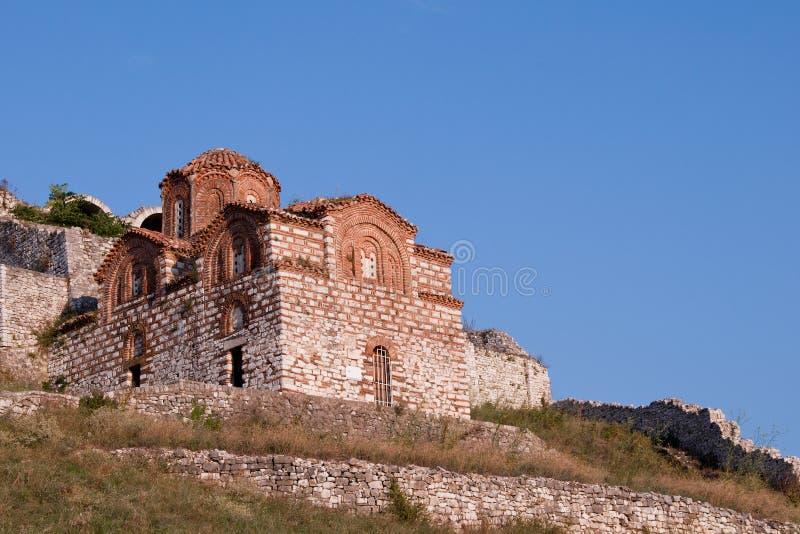 St. Mary van Blachernae-Kerk, Berat, Albanië stock afbeelding