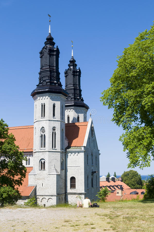 St Mary kathedraal Visby stock afbeeldingen