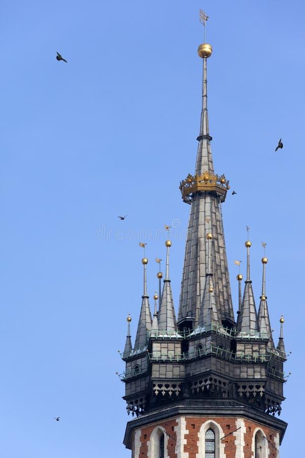 St. Marys Church Bell Tower - Krakow - Poland Royalty Free Stock Photos