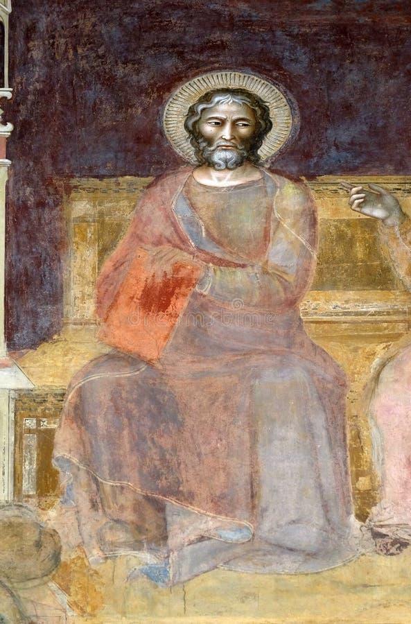 St Matthew Evangelist, freskomålning i den Santa Maria Novella kyrkan i Florence fotografering för bildbyråer