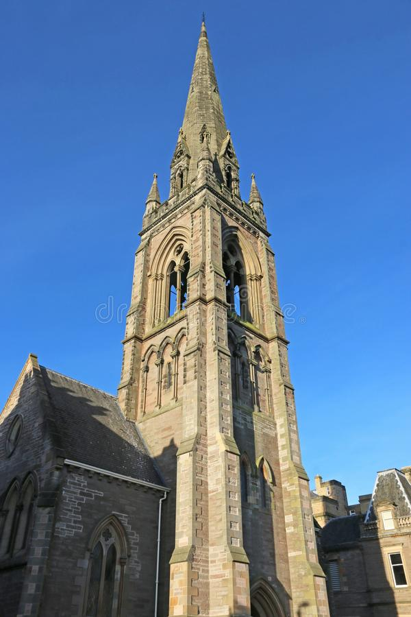 St Matthews church, Perth. Tower of St Matthews church of Scotland, Perth stock photo