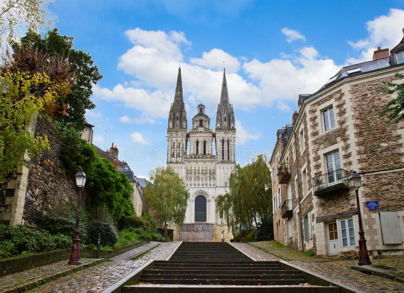 St Maurice cathedral, Angers, France. Cathedral church of Saint Maurice, Angers, France royalty free stock photo
