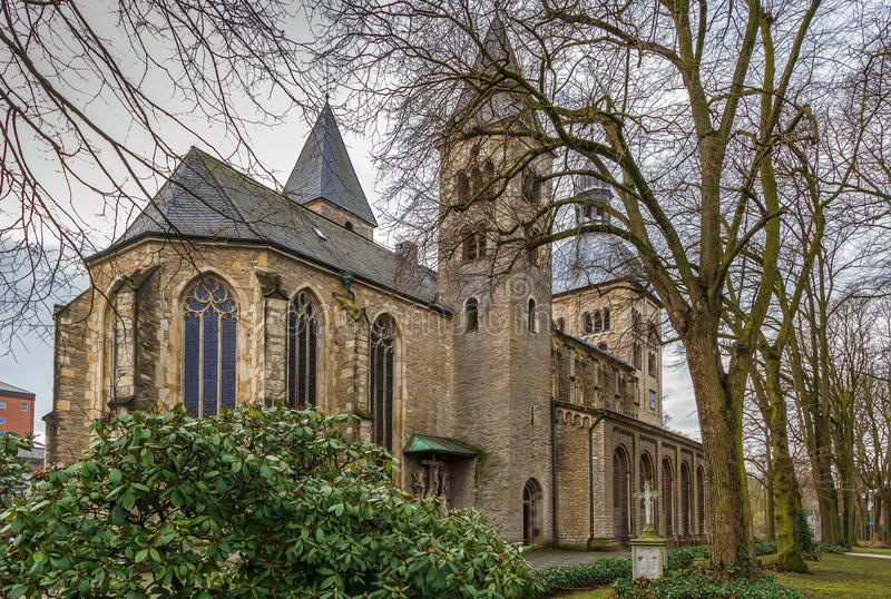 St. Mauritz church, Munster, Germany. The Catholic Abbey and Parish Church of St. Mauritz is the oldest partially preserved sacred building in Munster, Germany stock photo