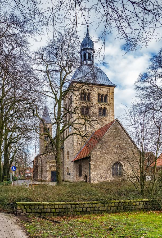 St. Mauritz church, Munster, Germany. The Catholic Abbey and Parish Church of St. Mauritz is the oldest partially preserved sacred building in Munster, Germany stock images