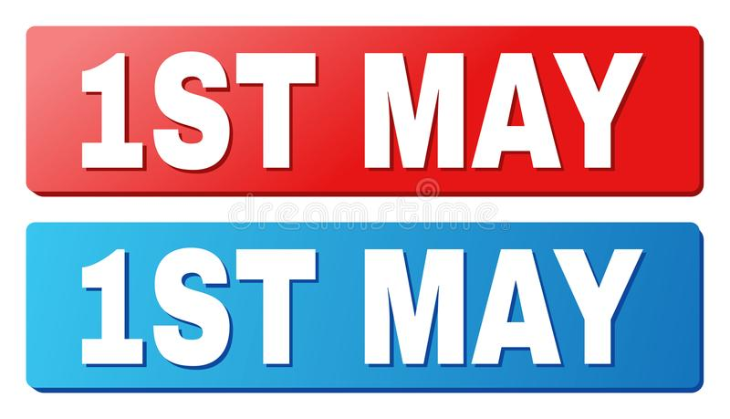 1ST MAY Caption on Blue and Red Rectangle Buttons. 1ST MAY text on rounded rectangle buttons. Designed with white caption with shadow and blue and red button stock illustration