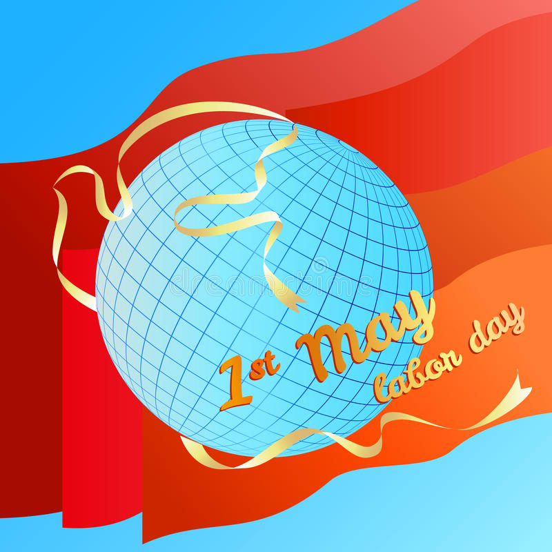 1st may Labor day vector illustration. Globe and silhouette dove white banner on red flags background stock illustration
