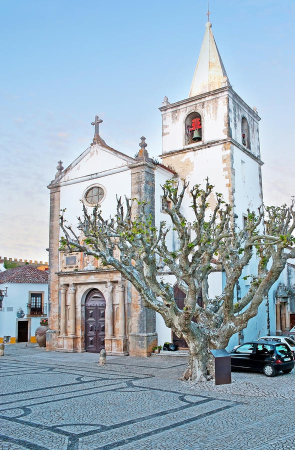 St Mery Church in Obidos immagine stock