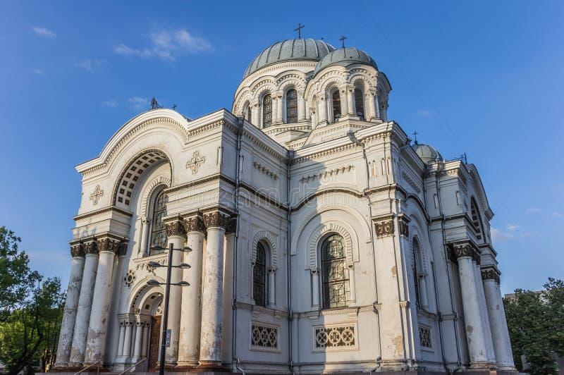 St Michael ärkeängelkyrkan i Kaunas, Litauen royaltyfria foton