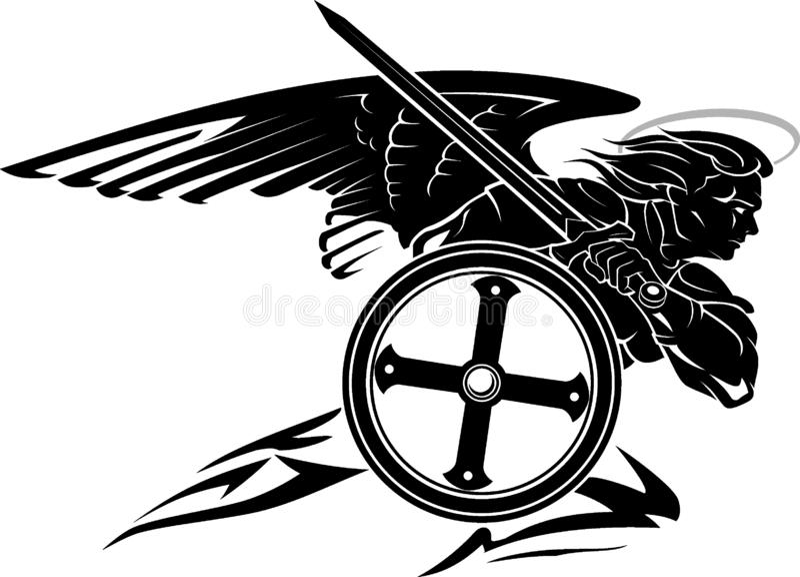St Michael Archangel met Rond Schild vector illustratie