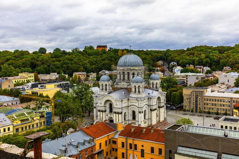 St. Michael the Archangel s Church panoramic view from the top. Kaunas. Lithuania stock photos