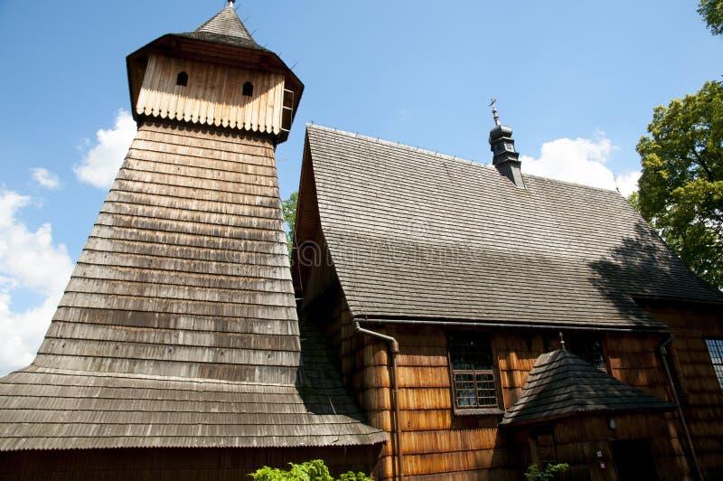 St Michael Archangel Wooden Church - Binarowa - Polonia foto de archivo libre de regalías