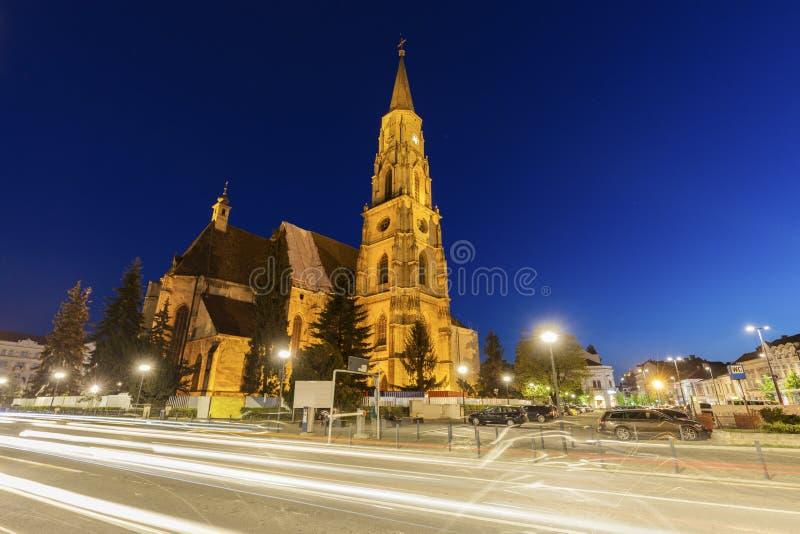 St Michael Church in cluj-Napoca stock foto's