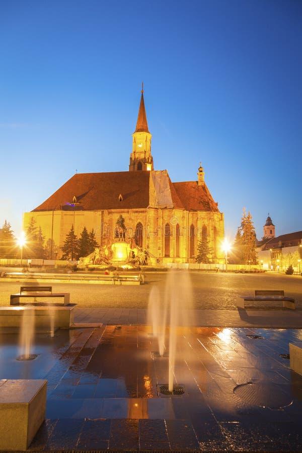 St Michael Church in cluj-Napoca stock afbeeldingen
