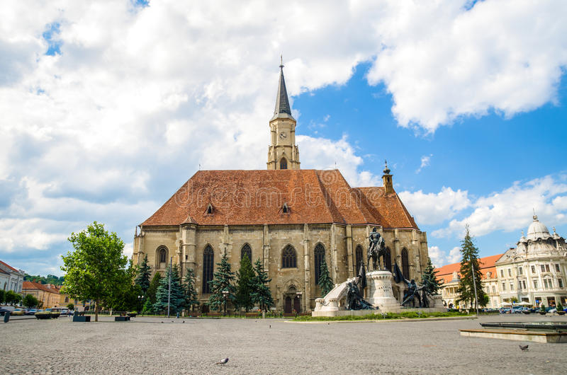 St Michael Church i Cluj-Napoca royaltyfria foton