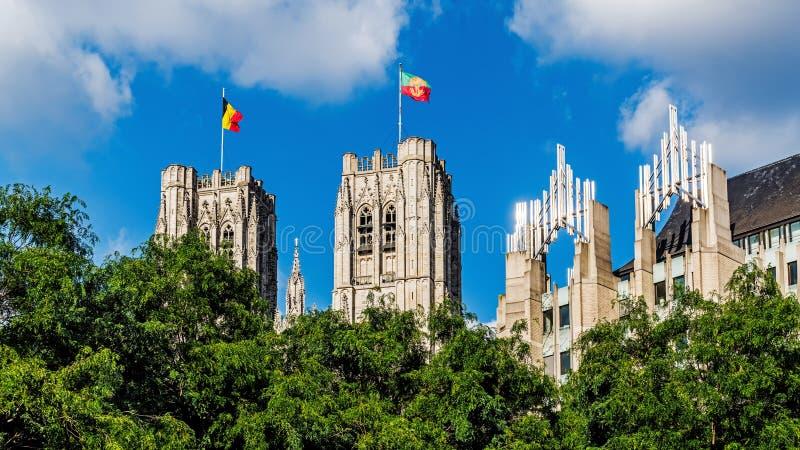 St Michael et cathédrale de Gudula à Bruxelles photo stock