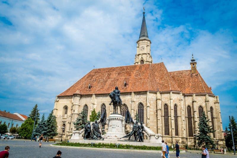 St Michael Kerktoren, Cluj Napoca, Roemenië royalty-vrije stock afbeeldingen
