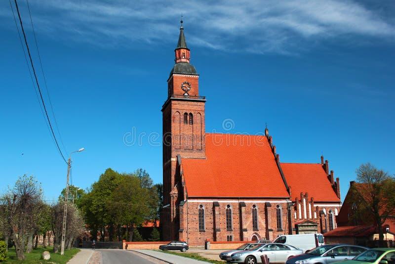 St Michael kyrka i den Sepopol staden i det Bartoszyce länet, Warmian-Masurian Voivodeship, Polen arkivfoto