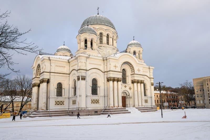 St Michael kyrkan för ärkeängel s, vinterplats arkivfoton