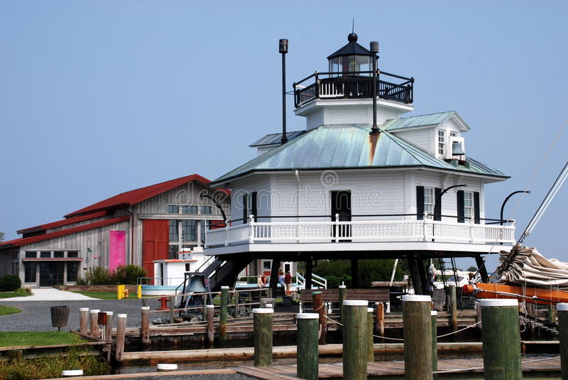 St Michael, MD: Faro dello stretto di Hooper immagini stock