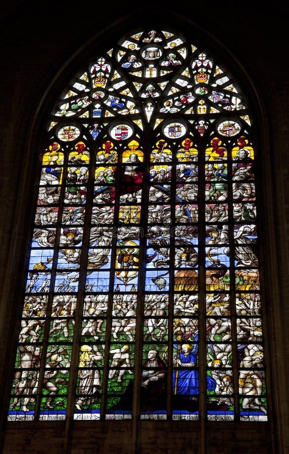 St Michael och för St. Gudula domkyrka i Bryssel royaltyfria foton
