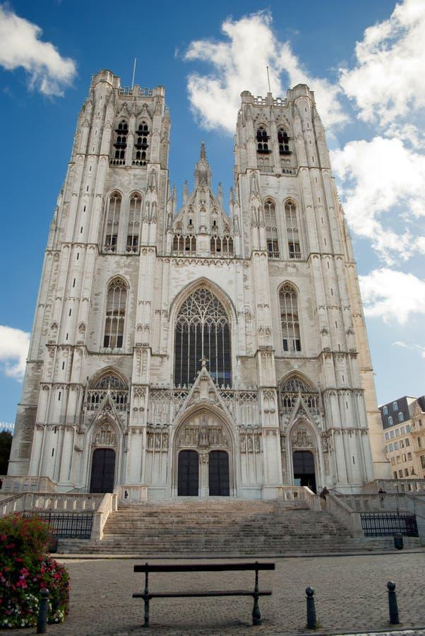 St Michael och Gudula domkyrka. Bryssel. Belgien royaltyfria bilder