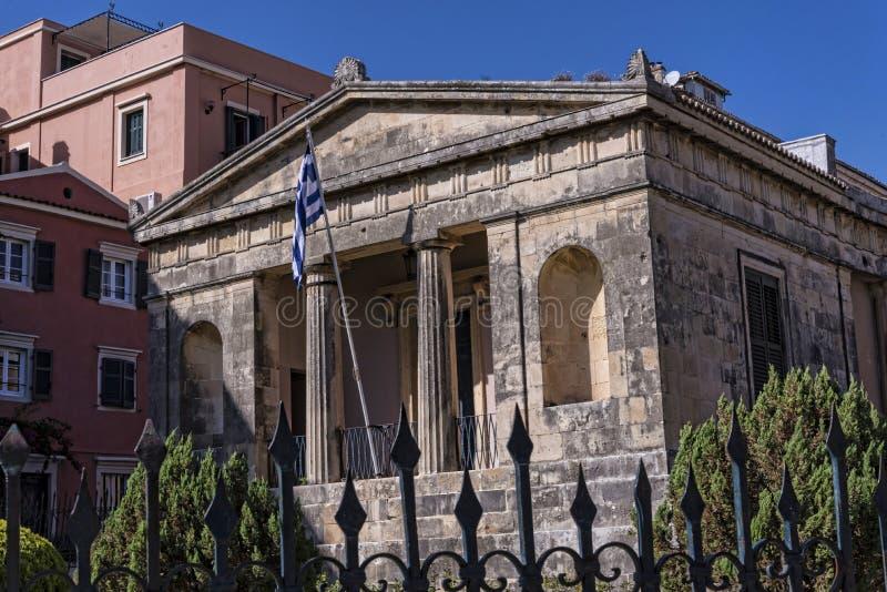St Michael och helgon George Palace i den Korfu staden Grekland royaltyfria bilder