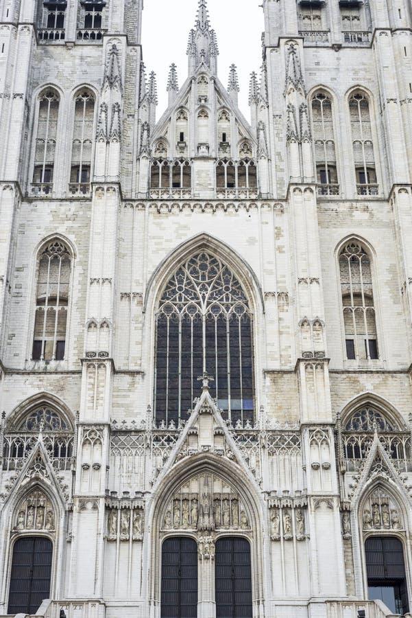 St Michael och St Gudula i Bryssel, Belgien arkivbild