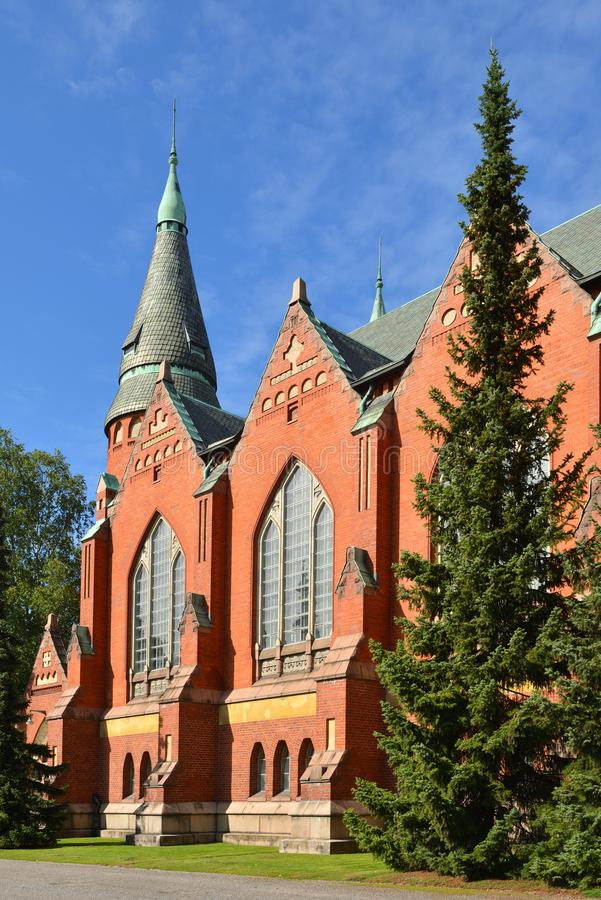 St Michael`s Church is church situated in central Turku. It`s named after Archangel Michael and was finished in 1905. Main buildin. G material of walls of church royalty free stock images