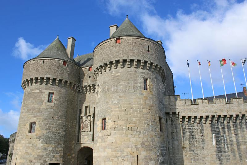 St Michael`s gate, Guerande , France. St Michael`s gate and city walls of Guerande , France royalty free stock image