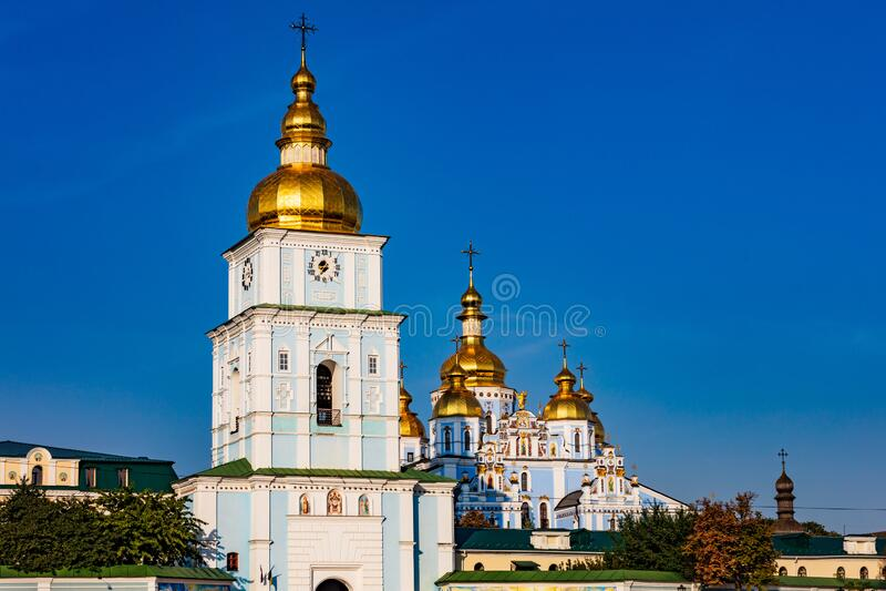 St Michael`s Golden Domed Kloster Kiew Ukraine Landmark lizenzfreies stockbild