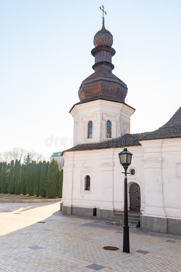 St. Michael`s Golden Domed Monastery, classic shinny, golden cupolas of the cathedral cupolas of the cathedral, Ukraine royalty free stock photo