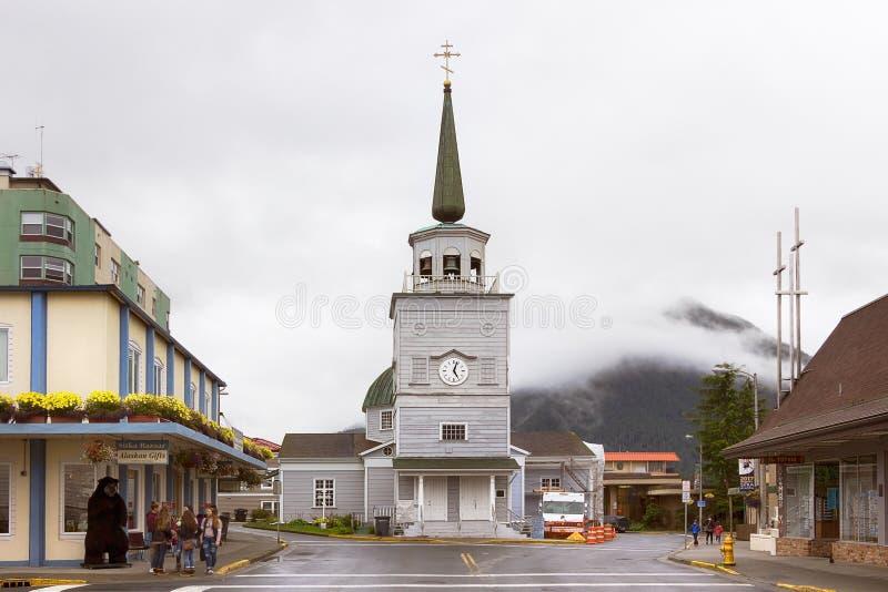 St Michael ` s Kathedraal in Sitka, Alaska stock foto's