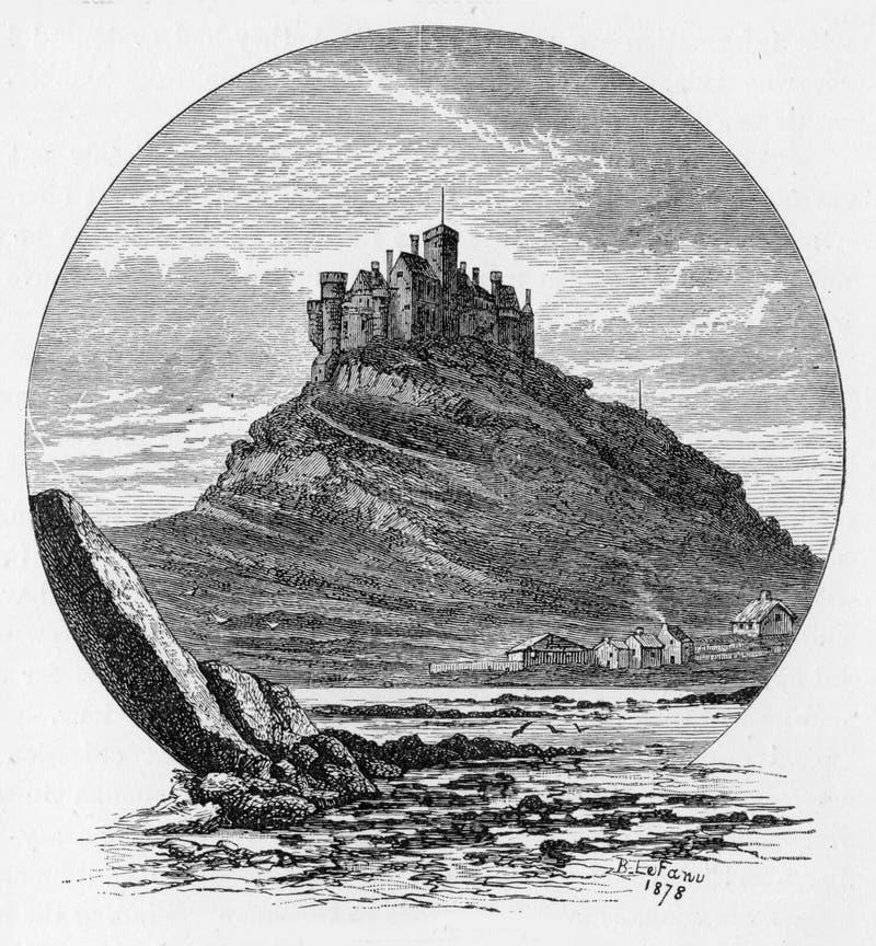 St Michael's Mount. (Cornish: Karrek Loos yn Koos), a tidal island 366 metres off the Mount's Bay coast of Cornwall, England, United Kingdom; engraving from