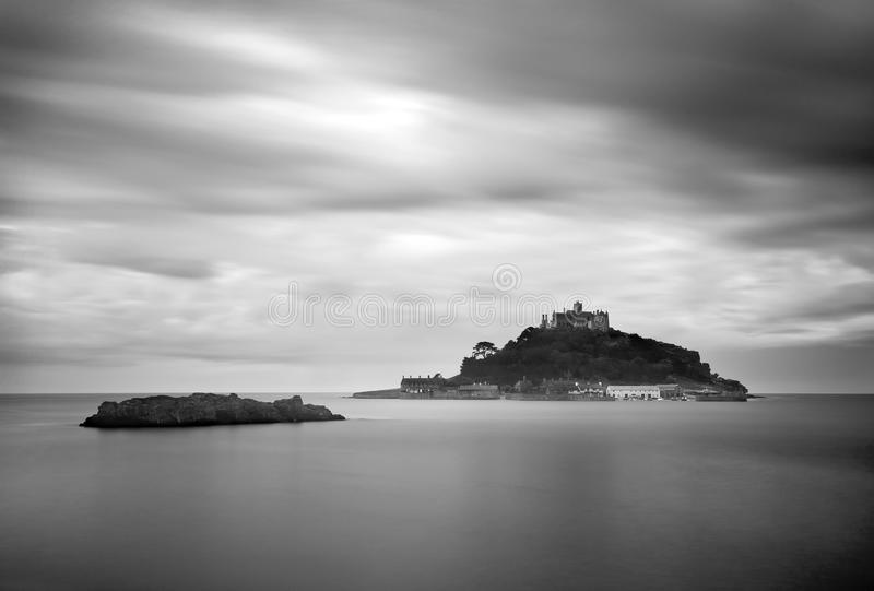 St Michael's Mount in Cornwall B&W royalty free stock photo