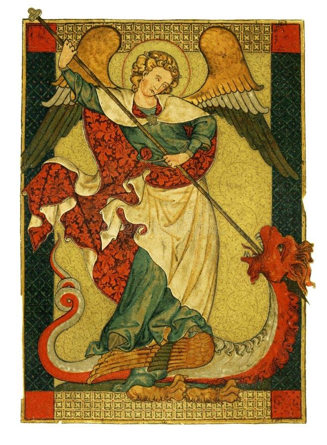 St Michael zegevierend over duivel het schilderen vector illustratie