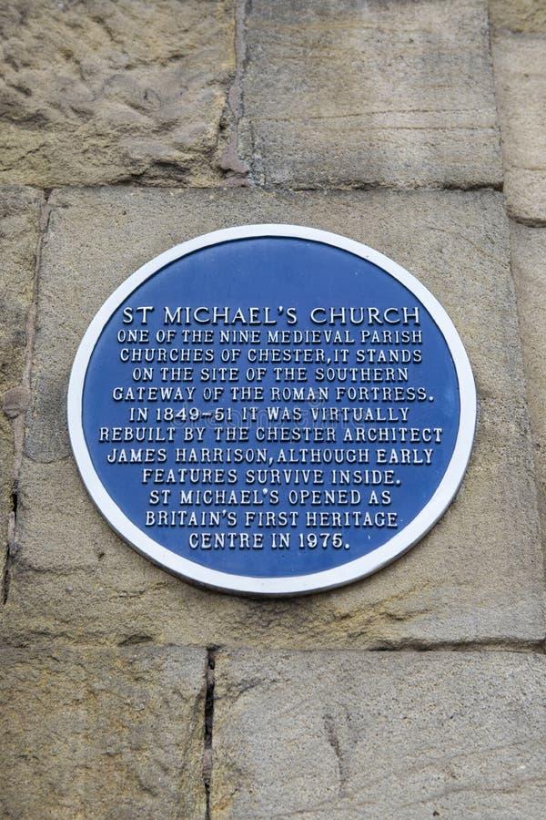 St Michaels Church Plaque en Chester foto de archivo