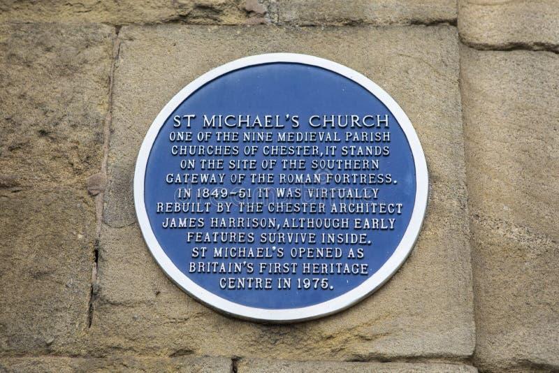 St Michaels Church Plaque en Chester foto de archivo libre de regalías