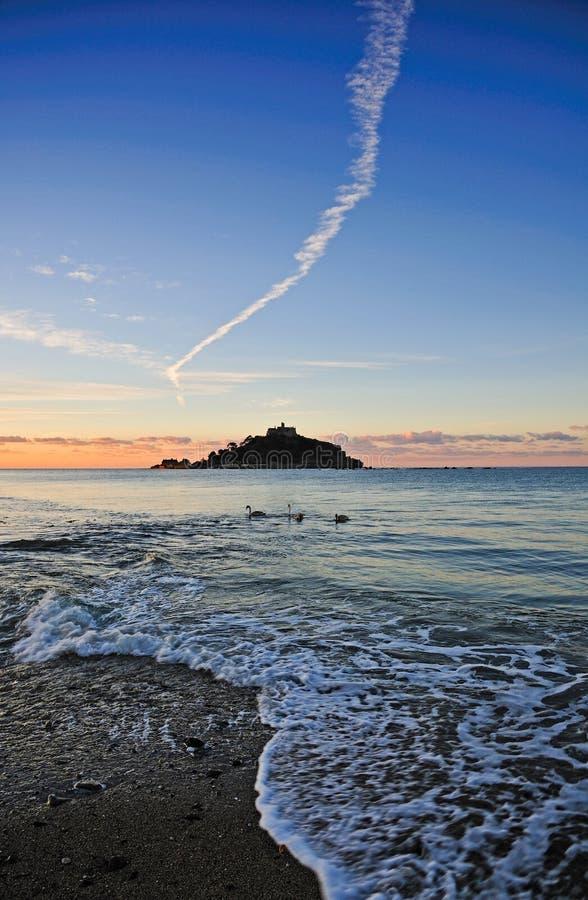 St Michaels Mount Sunset immagini stock libere da diritti