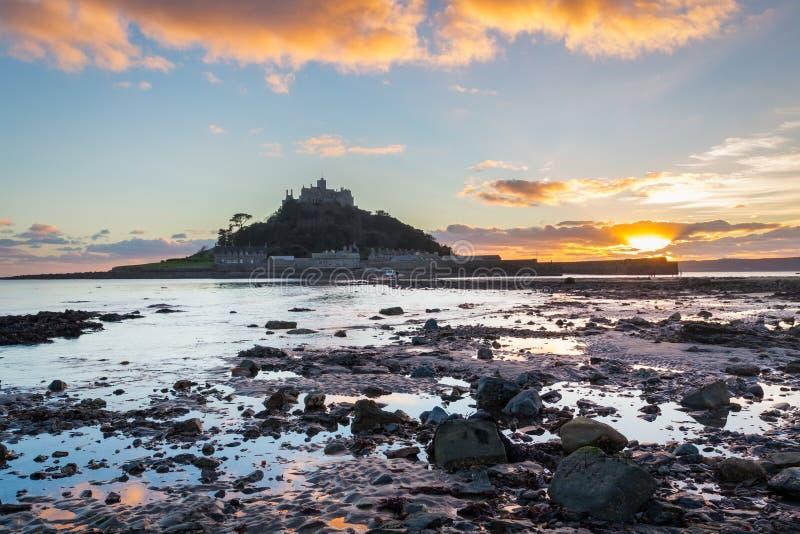 St Michaels Mount Sunset foto de stock