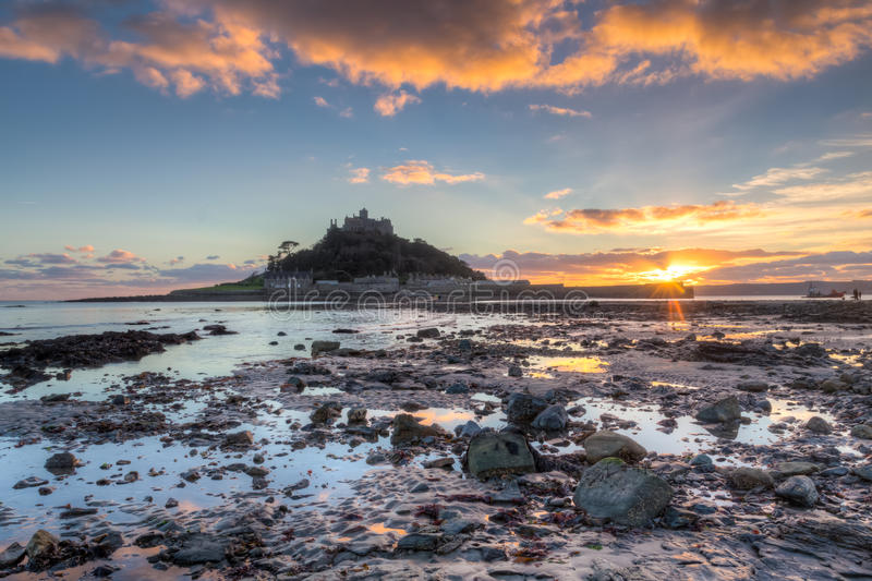 St Michaels Mount Sunset imagem de stock
