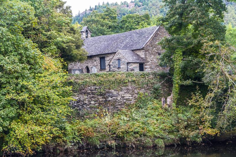 St Michaels Old Church in Betws Y Coed. View of St Michael`s Old Church from across the river Conwy, Betws-y-Coed, Gwynedd, North Wales, UK royalty free stock photos