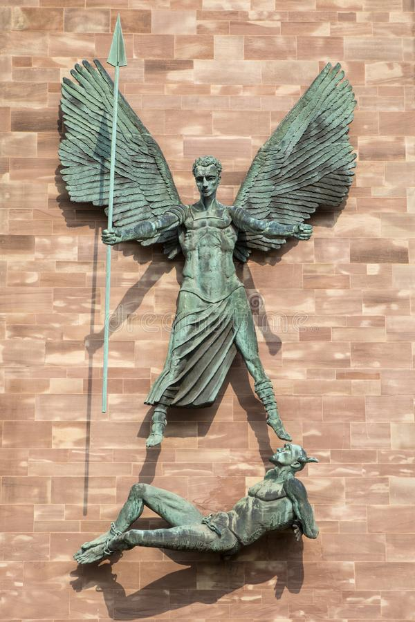St. Michaels Victory over the Devil at Coventry Cathedral royalty free stock photo