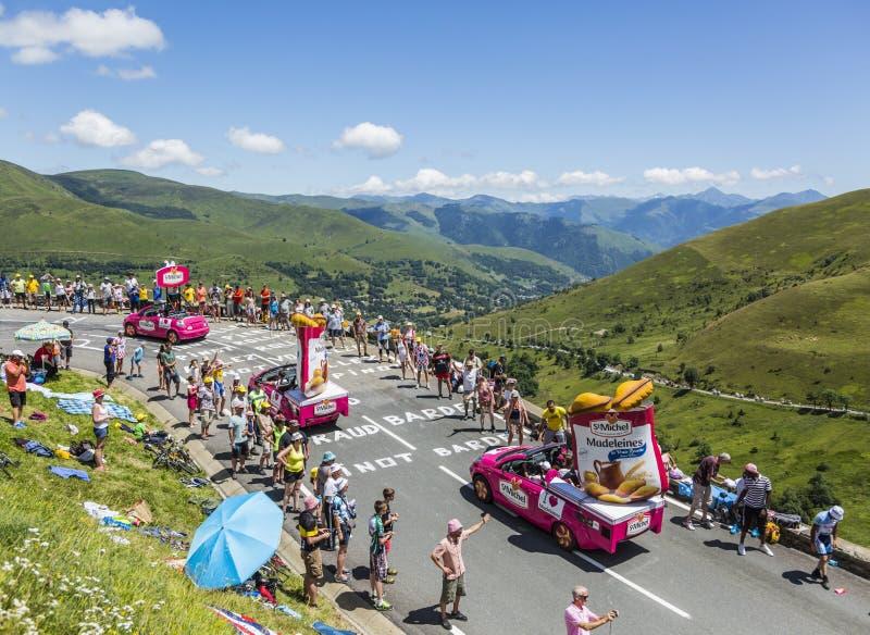 St Michel Madeleines Caravan - Tour de France 2014 foto de archivo